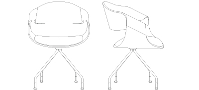 2641 - Four Leg Swivel Base, with Casters (C)