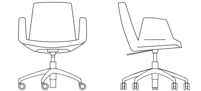 1052 - Upholstered Arms, Swivel Base