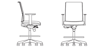 7233S - Drafting Stool Adjustable Arms